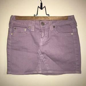 True Religion Lilac Purple Denim Mini Skirt